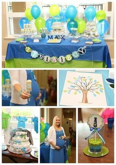 """Photo 1 of 31: Lime Green & Aqua Blue Necktie Little Man Shower / Baby Shower/Sip & See """"A Baby Shower Fit for a Little Gentleman"""" 