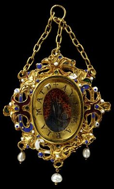 Enamelled gold pendant set with paintings in verre eglomisé of the Virgin and St. Francis, and hung with pearls. Sicily, Italy, 17th century