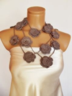 hand crocheted floral scarf lariat necklace grey by smilingpoet, $21.90