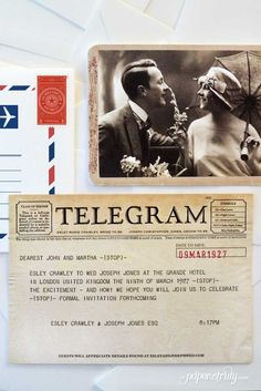 This Telegram-style save the date is full of vintage charm! Take your guests back to the Roaring 20's with a customized telegram, vintage-style photo, delivered in an airmail-style envelope!