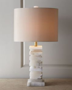 Square-cut slices of alabaster blocks are stacked to form the geometric-column base of this intriguing lamp by John-Richard Collection at Horchow. It will coordinate well with modern home accessories and boho home decor. Marble Lamp, Brass Lamp, Alabaster Lamp, Stone Lamp, Bedside Lamp, Bedside Tables, Easy Home Decor, My New Room, Home Furnishings