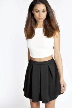 Katie Box Pleat Scuba Skater Skirt //Black, Olive, Mid Blue, Dusky Pink ~Love the pink!!