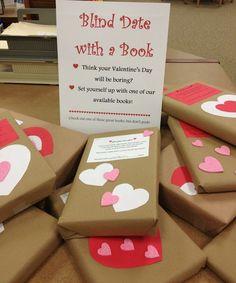 Blind date with a book. This would be great for a Valentine's Day Reading Promotion. The students read the description on the book and check it out.