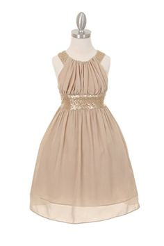 9ebba474066 Champagne Dazzling Sequin Pleated Chiffon Flower Girls Dress with Cross Back