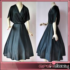 Vintage 1970s Draped Rockabilly LBD Black Wrap Over Art Deco Swing Dress #retro #rockabilly #vintagedress #vintage