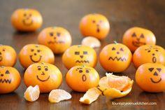 Cute clementines for a healthy Halloween or fall snack. I am going to use my edible food decorating pen.