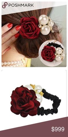 Red Rose and Pearl Ponytail Holder Saree Hairstyles, Bow Necklace, Flower Hair Accessories, Paper Flowers Diy, Ponytail Holders, Hair Accessory, Flowers In Hair, Red Roses, Hair Clips