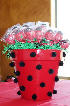 Ladybug Lollipops ..LOVE the Pot with glued on Pom Poms!! Adorable!