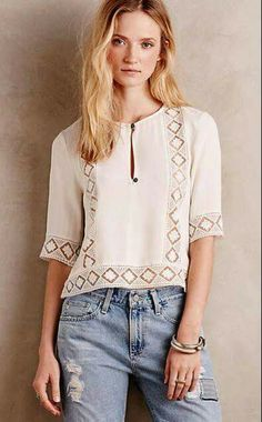 54 Super Ideas For Crochet Summer Pullover Products White Shirts Women, Blouses For Women, Lace Peplum, Embroidery Fashion, Blouse Outfit, Couture, Anthropologie, Tunic Tops, Outfits