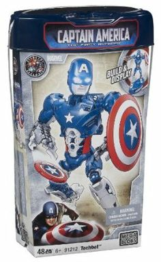 Megabloks Captain America Techbot by Megabloks. Save 45 Off!. $9.95. Interchangeable parts ? build your own custom armors for any situation!. 10? fully actionable armor and Captain America Shield. Stand and fight, hover attack villains and protect civilians!. Techbot Armor with launchers that really fire!. Includes 50 buildable pieces. From the Manufacturer                Join the fight against evil with Captain America in his new Techbot armor. The fully actionable 10' buildable...