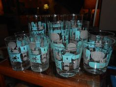12 Vtg MID CENTURY Modern Aqua & Grey BLUE HEAVEN Drink GLASS Royal China EXC #RoyalChina