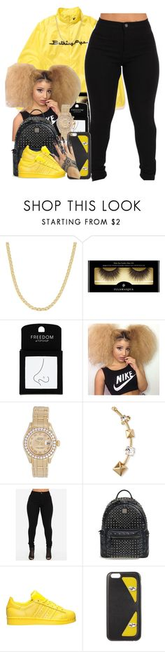 """Queen's only"" by thaofficialtrillqueen ❤ liked on Polyvore featuring A BATHING APE, Fremada, Illamasqua, Topshop, Rolex, Valentino, MCM, adidas and Fendi"