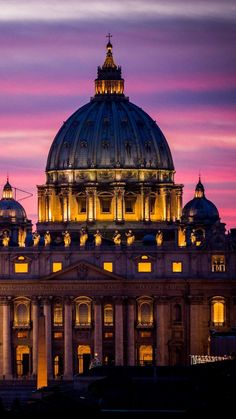 rome, italy, vatican, st peters basilica, vatican city, st peters cathedral, architecture, city, night, sky, sunset