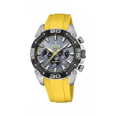 Festina, Yellow Accents, Gray Color, Colour Yellow, Casio Watch, Stainless Steel Case, Matcha, Watches For Men, Quartz