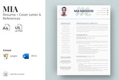 Creative resume format for Freshers. Internship Resume template for MS Word and Mac Pages. Simple CV format and Cover Letter examples + References Templates for Resume Cv Design Template, Modern Resume Template, Resume Template Free, Creative Resume Templates, Cover Letter Format, Cover Letter For Resume, Cover Letter Template, Resume Format For Freshers, Resume Writing