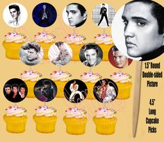 Elvis Presley 12 Images Cupcake Picks Cake Topper King of Rock and Roll - 12 pcs #PartyOverHere #BirthdayAdult