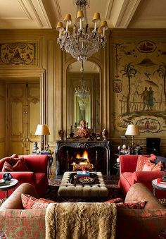 "Paris apartment by Timothy Corrigan. This may not be in a ""manor"" but it definitely has the style."