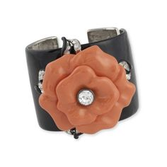 Kenneth Jay Lane Coral Flower Cuff (€305) ❤ liked on Polyvore featuring jewelry, bracelets, coral, hinged bangle, costume jewelry, kenneth jay lane bangles, costume jewellery and coral jewelry