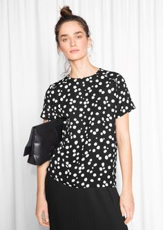 & Other Stories Dotty Print Top  in Black