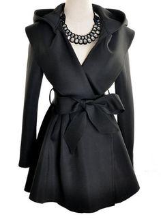 Black Hoodie Belt Waist Open Long Coat