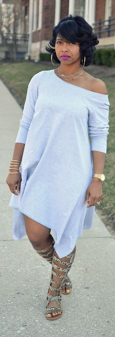 Spring Outfit Idea, Grey Dress, Spring 2015 Not cracked on the sandals but I love the dress! Curvy Fashion, Look Fashion, Plus Size Fashion, Fashion Outfits, Womens Fashion, Thick Girl Fashion, Fashion Ideas, Spring Outfits, Spring Summer Fashion