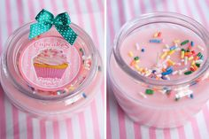 pink, girly, cupcake scented, pretty, sweet, candy, sprinkle candle
