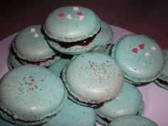 Macarons blau mit Glitzer