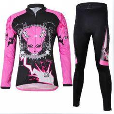 Pink  Polyester Women Long Sleeve Bike Cycling Wear Jersey s-2xl Quick Dry