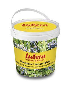 Dünger für Blaubeeren und andere Pflanzen, die säurehaltigen Boden mögen. Lubera Frutilizer® Instant Blue im Mein Schöner Garten Shop  Für ältere Moorbeete (ab 5 Jahren) und große Kübel (ab 50 l) - hilft, um den pH tief zu halten oder abzusenken