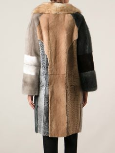 Liska 'Debbie' Multicolored Sable Fur, Mink Fur And Persian Lamb Fur Coat