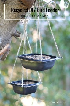 Recycled DIY Bird Feeder - Liz on Call - My kids loved making this recycled DIY bird feeder. It's a quick, easy project the whole family ca - Bird Feeders For Kids To Make, Make A Bird Feeder, Bird Feeder Craft, Homemade Bird Feeders, Unique Bird Feeders, Garden Bird Feeders, Fun Crafts For Kids, Diy For Kids, Easy Projects