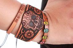 Stacked Leather Bracelet - Dia de Los Muertos - Day of The Dead - Stacked Leather Cuff -  - Leather Cuff -Halloween - Bohemian/Gypsy/Hippie