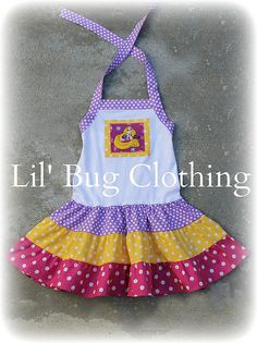 Custom Boutique Princess Rapunzel Tangled  Disney Tiered Lilac Yellow Pink Dress. $39.99, via Etsy.