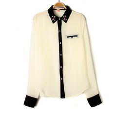 All Match Rhinestone Trim Contrast Chiffon Shirt for Women