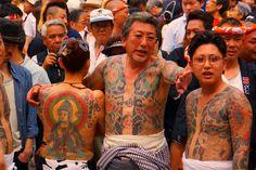Yakuza in Sanja Matsuri Festival arranged by the Japanese Mafia, Tokyo.