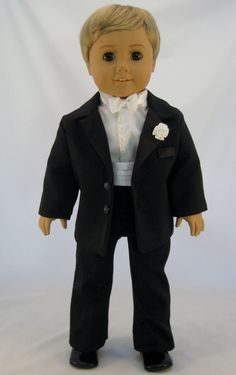 An American Girl sized tuxedo for your custom boy doll who is attending a formal occasion such as a wedding or prom I will customize it to your
