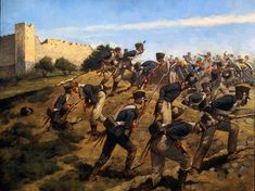 Battle of Fuengirola, 1810 - , troops of the 4th Infantry Regiment Poles advance.