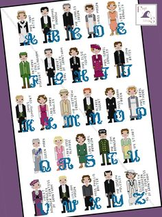 Downton Abbey inspired Character Alphabet Cross Stitch pattern - PDF Pattern - INSTANT DOWNLOAD by FangirlStitches on Etsy