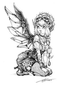 Steampunk fairy by Capia on deviantART wings gears sprockets metal lady woman babe  Tattoo Flash Art ~A.R.