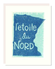 Minnesota State Hand Printed Card in Aqua Blues by noraalice, $5.00