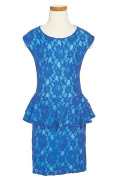 Miss Behave 'Piper' Peplum Lace Dress (Big Girls) available at #Nordstrom