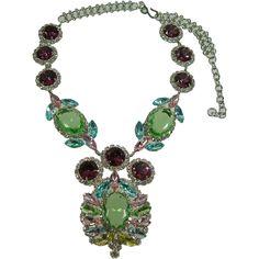 Vintage Kenneth Lane KJL Mogul Rhinestone and Crystal Necklace