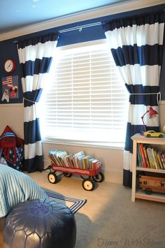 Honey We're Home: James' Room // West Elm Shower Curtain into Drapes
