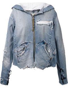 Greg Lauren 'the Jacket - refashion jeans into jacket, crazy price! Cardigan Blazer, Jeans Trend, Estilo Denim, Diy Vetement, Mode Jeans, Mode Plus, Recycled Denim, Vintage Denim, Denim Shirt