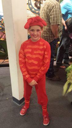 Lex Little Mermaid Crustacean for the play painted sweat shirt hat with antenna makeup - Aubrey Owen