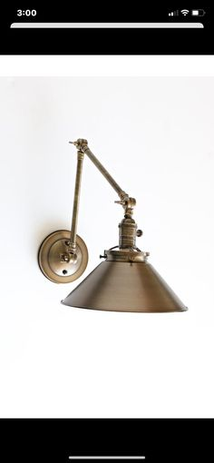 Wall Sconce With Metal Cone Shade and Adjustable Arm Bronze Wall Sconce, Wall Sconce Lighting, Wall Sconces, Bedroom Lighting, Kitchen Lighting, Apartment Lighting, Work Lamp, Copper Lighting, Lamp Socket