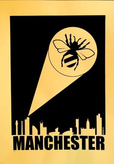 When the city needs Mancsy all you need to do is switch on the bee light and posters will be distributed. Each limited edition screen print is Made. Manchester Ariana Grande, Manchester Love, Bolton England, Grey Hair Men, Worker Boots, Look Back In Anger, Life In The Uk, Northern England, Bee Tattoo