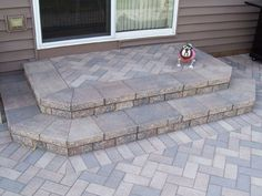Steps - D & D Design Brickpaving, Naperville, IL Concrete Patio Designs, Cement Patio, Concrete Patios, Concrete Porch, Shade Landscaping, Small Yard Landscaping, Landscaping Ideas, Patio Stairs, Backyard Patio