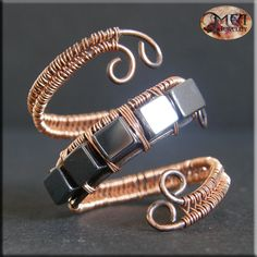Hematite - wire wrapped, copper ring