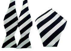 Black Gray Stripes Self Tied Bowtie Pocket Square.